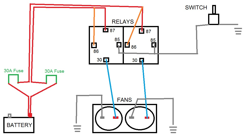 Carrier Chiller Piping Diagram besides 267695 Electric Fans Relay Wiring likewise Ceiling Fan Installation 3 Way Switch additionally Rv Battery Isolator Wiring Diagram furthermore 3 Way Switch Wiring Diagram. on dual fan wiring diagram